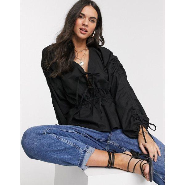 エイソス レディース シャツ トップス ASOS DESIGN cotton top with ruched sleeve detail Black