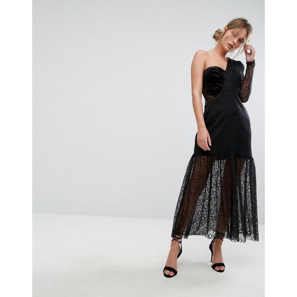 スリーフロア レディース ワンピース トップス Three Floor One Shoulder Pleated Midi Lace Dress Black