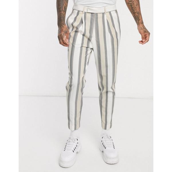 エイソス メンズ カジュアルパンツ ボトムス ASOS DESIGN smart tapered pants in white stripe White