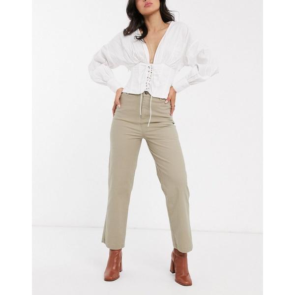 エイソス レディース カジュアルパンツ ボトムス ASOS DESIGN straight leg pants in stone comfort stretch slubby cotton Stone