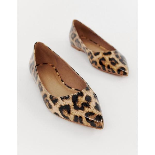 エイソス レディース サンダル シューズ ASOS DESIGN Latch pointed ballet flats in leopard print Leopard patent