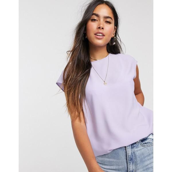 ウエアハウス レディース Tシャツ トップス Warehouse satin tipped t-shirt in lilac Lilac
