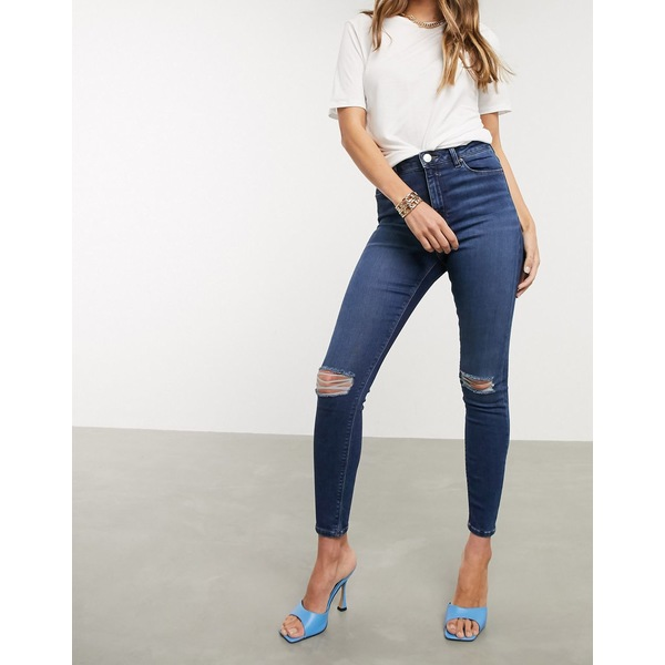 エイソス レディース デニムパンツ ボトムス ASOS DESIGN Ridley high waisted skinny jeans in dark stonewash blue with busted knees Dark stone wash
