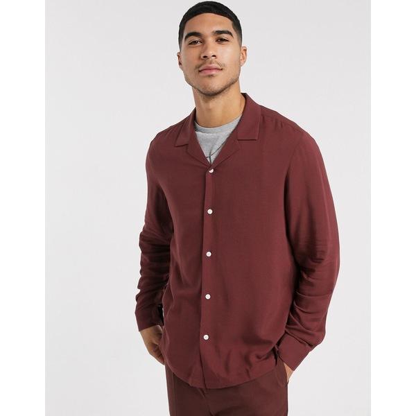 エイソス メンズ シャツ トップス ASOS DESIGN regular fit viscose shirt in brown with revere collar Brown