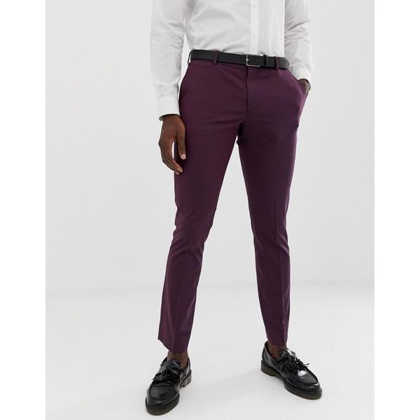 セレクテッドオム メンズ カジュアルパンツ ボトムス Selected Homme Damson Suit PANTS In Skinny Fit Plum perfrect
