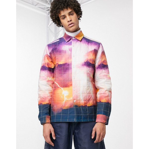 エイソス メンズ シャツ トップス ASOS DESIGN quilted overshirt in landscape print Orange