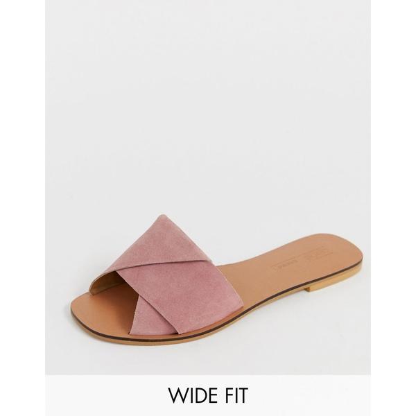 エイソス レディース サンダル シューズ ASOS DESIGN Wide Fit Favoured leather flat sandals Pink