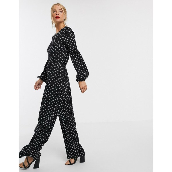 エイソス レディース ワンピース トップス ASOS DESIGN jumpsuit with elasticated sleeve detail in polka dot Black/white