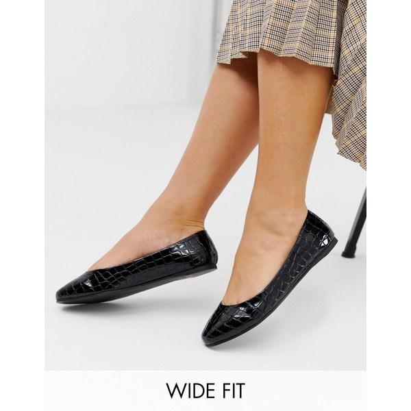 エイソス レディース サンダル シューズ ASOS DESIGN Wide Fit Lassie ballet flats in black croc Black croc