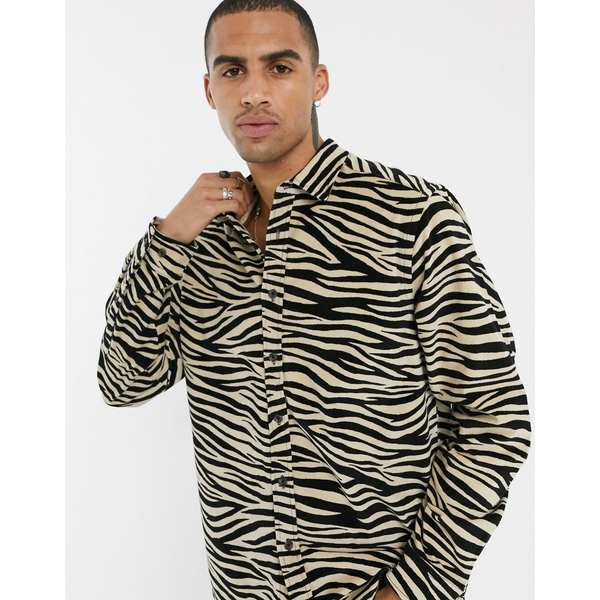 エイソス メンズ シャツ トップス ASOS DESIGN velvet overshirt in zebra print White