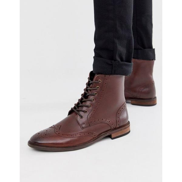 エイソス メンズ ブーツ&レインブーツ シューズ ASOS DESIGN brogue boots in brown leather with natural sole Brown