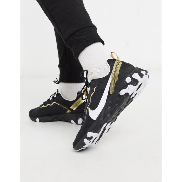 ナイキ メンズ スニーカー シューズ Nike React Element 55 sneakers in black/gold Black/gold
