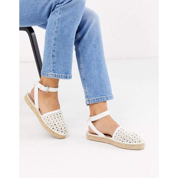 エイソス レディース サンダル シューズ ASOS DESIGN Junction woven espadrille flat sandals in white White