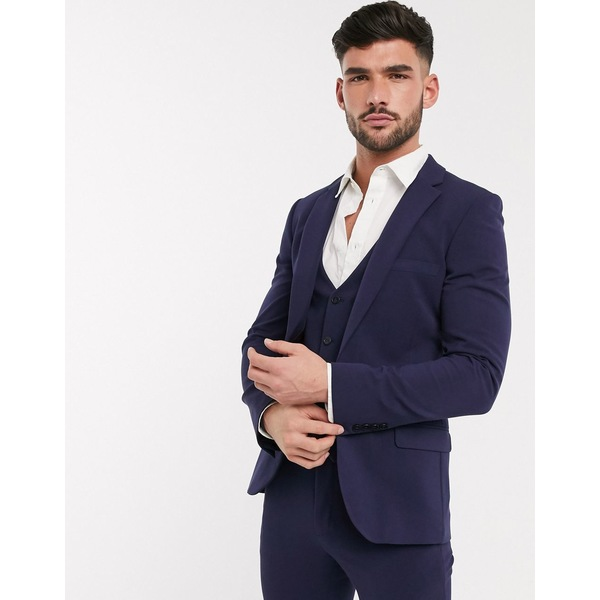 エイソス メンズ ジャケット&ブルゾン アウター ASOS DESIGN super skinny suit jacket in four way stretch in navy Navy