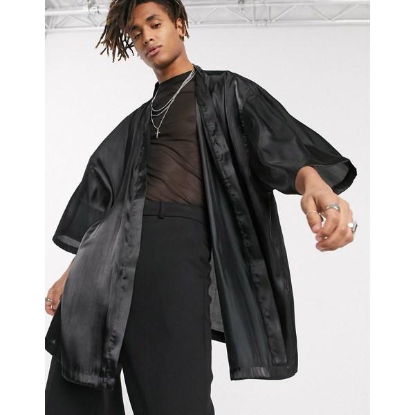 エイソス メンズ シャツ トップス ASOS DESIGN high shine satin kimono in black Black