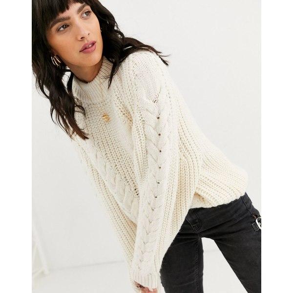 エイソス レディース ニット&セーター アウター ASOS DESIGN premium oversized cable sweater Cream