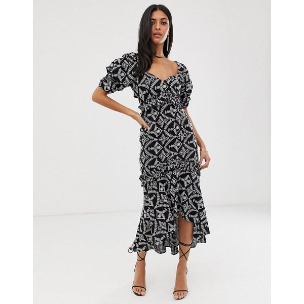 エイソス レディース ワンピース トップス ASOS DESIGN puff sleeve midaxi dress in broderie lace Black and white