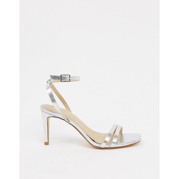 トゥラッフル レディース ヒール シューズ Truffle Collection square toe strappy heeled sandals in silver Silver