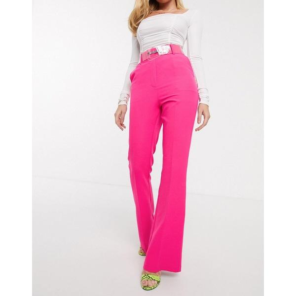 エイソス レディース カジュアルパンツ ボトムス ASOS DESIGN pop pink slim kick flare pants with clear belt Pink