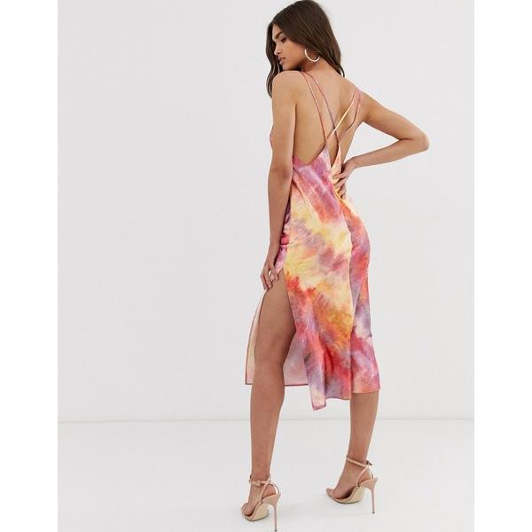 エイソス レディース ワンピース トップス ASOS DESIGN midi cami slip dress in high shine with strappy back in tie dye print Tie dye print