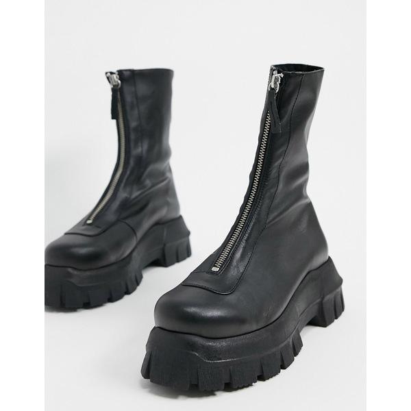 エイソス レディース ブーツ&レインブーツ シューズ ASOS DESIGN Apricot premium leather chunky zip front boots in black Black