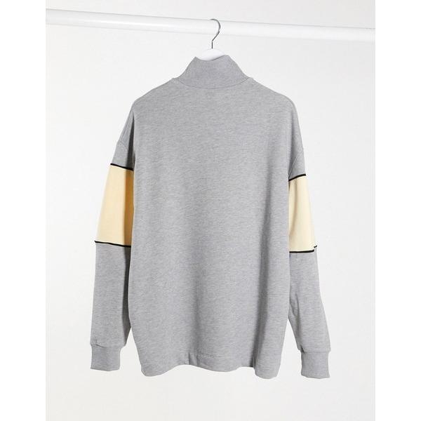 コリュージョン レディース ワンピース トップス COLLUSION funnel neck sweat dress in gray marl Gray