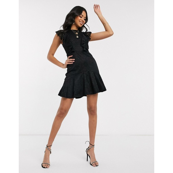 アックスパリ レディース ワンピース トップス AX Paris lace mini dress in black Black