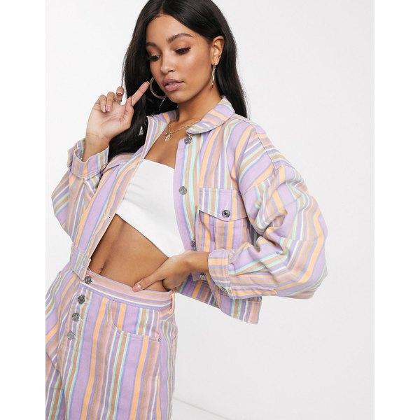 ミスガイデッド レディース コート アウター Missguided two-piece denim jacket in multi stripe Multi
