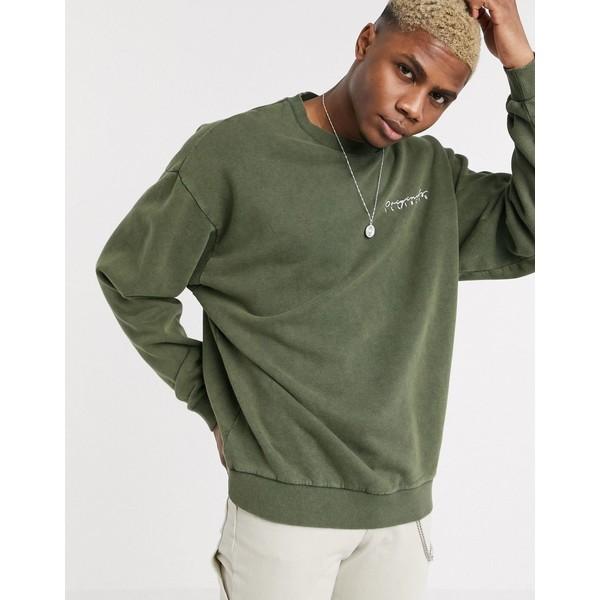 エイソス メンズ パーカー・スウェットシャツ アウター ASOS DESIGN oversized sweatshirt in washed khaki with print Washed khaki