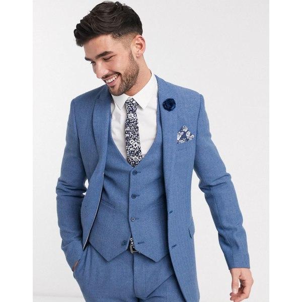 5☆大好評 エイソス メンズ アウター ジャケット ブルゾン Blue 全商品無料サイズ交換 ASOS DESIGN wedding wool herringbone super 専門店 skinny blend jacket cornflower blue in suit