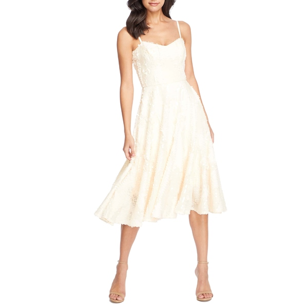 ドレスザポプレーション レディース ワンピース トップス Dress the Population Flora Sequin Fit & Flare Dress Cream