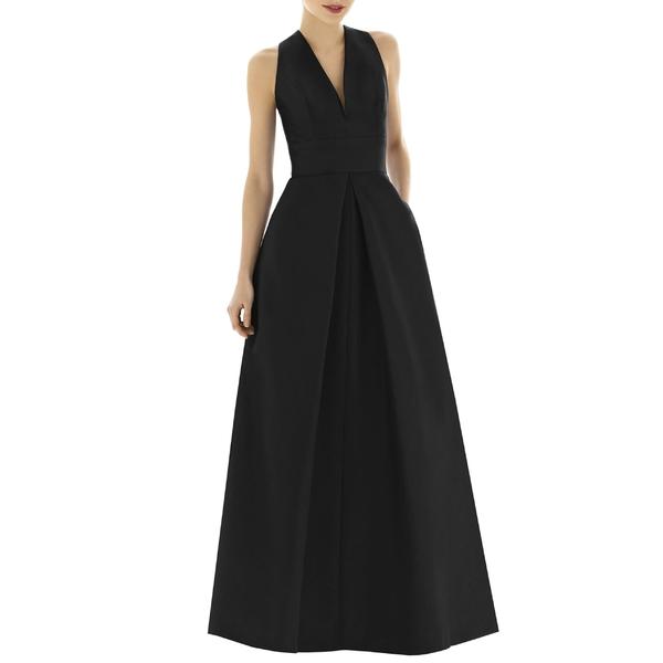 アルフレッド レディース (Regular ワンピース トップス レディース Alfred Sung Plus V-Neck Dupioni Evening Gown (Regular & Plus Size) Black, アサグン:fffee49b --- officewill.xsrv.jp