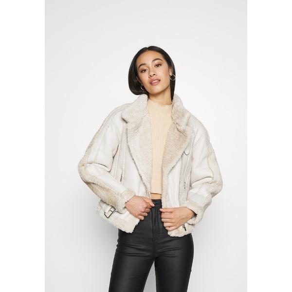ミスガイデッド レディース アウター ジャケット 男女兼用 ブルゾン cream 全商品無料サイズ交換 PREMIUM BORG jacket wpkj0237 - BELTED leather Faux AVIATOR 4年保証