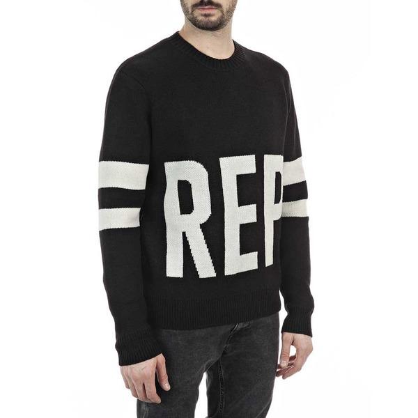 リプレイ 当店一番人気 数量限定 メンズ アウター ニットセーター Black Mesh wptk013f 全商品無料サイズ交換 UK8017 Replay
