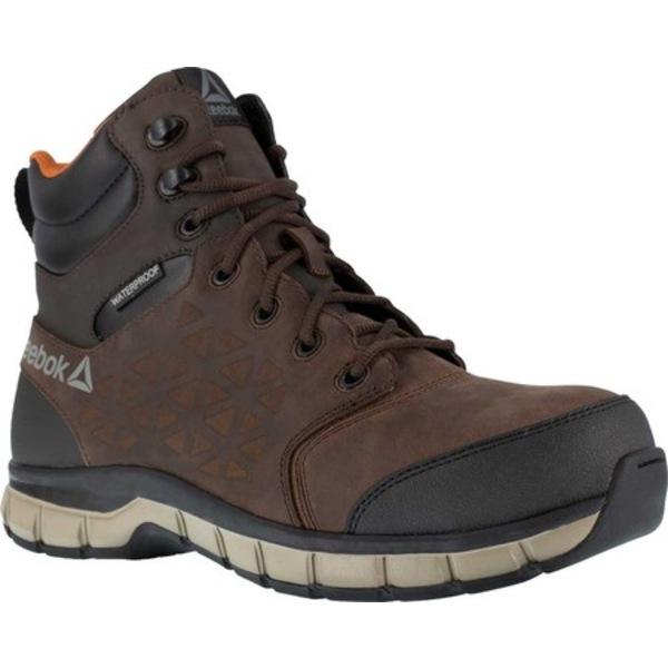 リーボック メンズ ブーツ&レインブーツ シューズ Sublite Cushion RB4606 Comp Toe Work Boot Waterproof Brown Leather