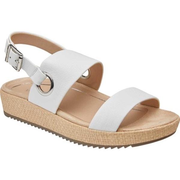 バイオニック レディース サンダル シューズ Louise Platform Slingback White Raffia Tumbled Leather