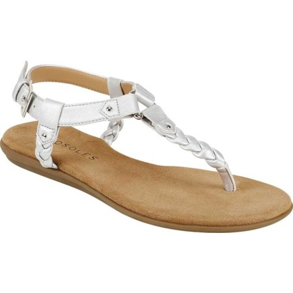 エアロソールズ レディース サンダル シューズ Cedar Grove Thong Sandal Silver Metallic Braided Faux Leather