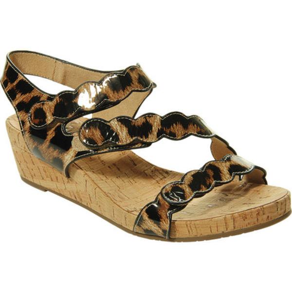 ベネリ レディース サンダル シューズ Kabie Wedge Sandal Camel Leo Patent Leather