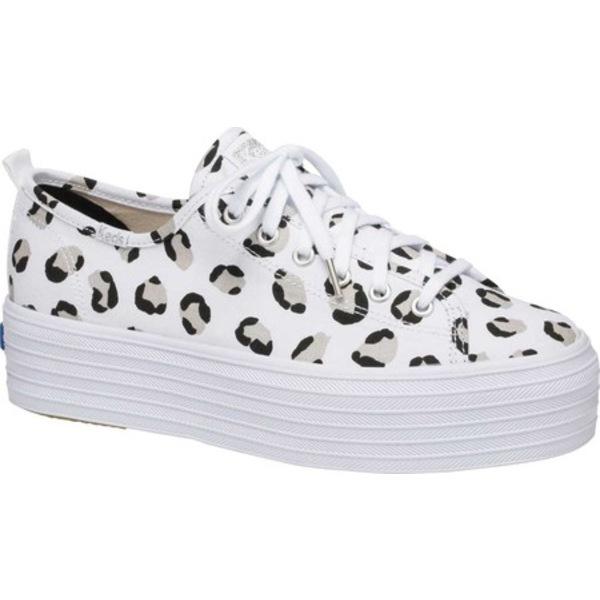 ケッズ レディース オックスフォード シューズ Triple Up Leopard Platform Sneaker White/Black Canvas