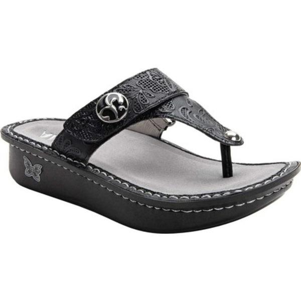 アレグリア レディース サンダル シューズ Carina Platform Thong Sandal Hello Doily Black Leather