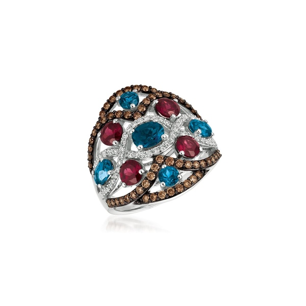 ルヴァン レディース リング アクセサリー Chocolatier Deep Sea Blue Topaz, Raspberry Rhodolite, Vanilla Diamonds, Chocolate Diamonds 14K Vanilla Gold Ring Rose Gold