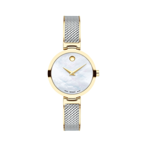 モバド レディース 腕時計 アクセサリー Amika Yellow Gold PVD-Plated, Stainless Steel & Mesh Bangle Watch Silver