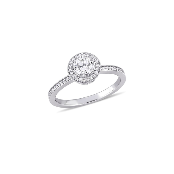ソナティナ レディース リング アクセサリー 14K White Gold & 0.5 TCW Diamond Halo Engagement Ring White Gold