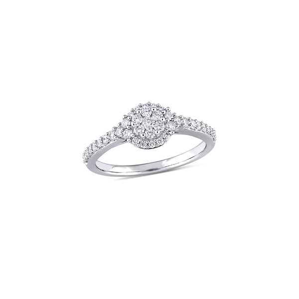 ソナティナ レディース リング アクセサリー 14K White Gold & 0.5 TCW Diamond Composite Halo Engagement Ring White Gold