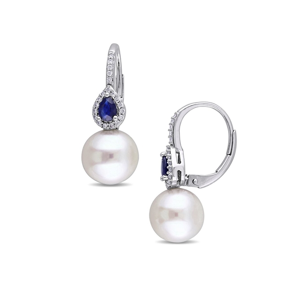 ソナティナ レディース ピアス&イヤリング アクセサリー Freshwater Cultured Pearl, Sapphire, Diamond and 14K White Gold Drop Earrings White Gold