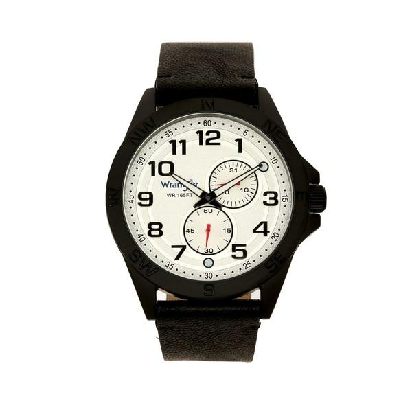 ラングラー レディース アクセサリー 腕時計 Black 全商品無料サイズ交換 Men's Watch 48MM Case Compass Directions on Strap Date Bezel Multi-Function White Numerals Dial Second Hand 引出物 安値 Subdials Arabic and