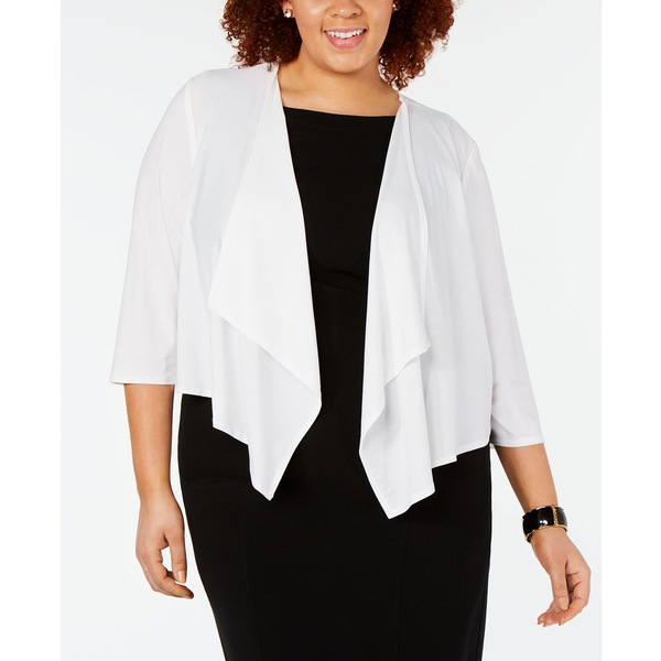 Size Mesh-Back Cardigan アウター Plus ニット&セーター レディース White アールアンドエムリチャーズ