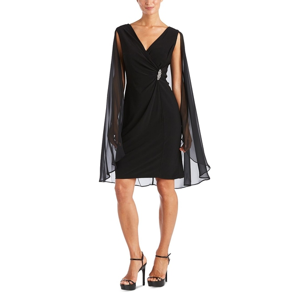 アールアンドエムリチャーズ レディース トップス ワンピース Black 全商品無料サイズ交換 Dress Embellished Cape Chiffon 期間限定特別価格 全品送料無料