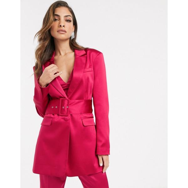 エイソス レディース ジャケット&ブルゾン アウター ASOS DESIGN belted suit blazer in satin Pink