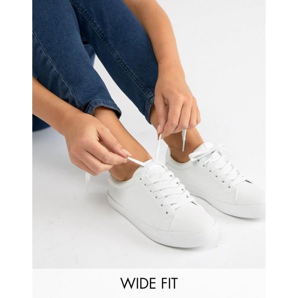 エイソス レディース スニーカー シューズ ASOS DESIGN Wide Fit Dustin lace up sneakers in white White pu